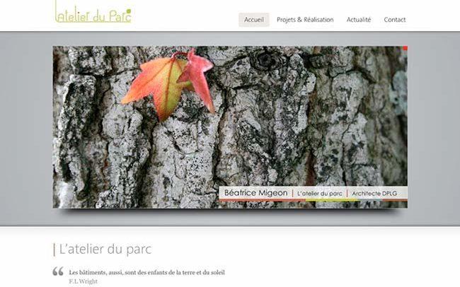 portfolio du site architecture dplg à nantes avec ecorce d'arbre