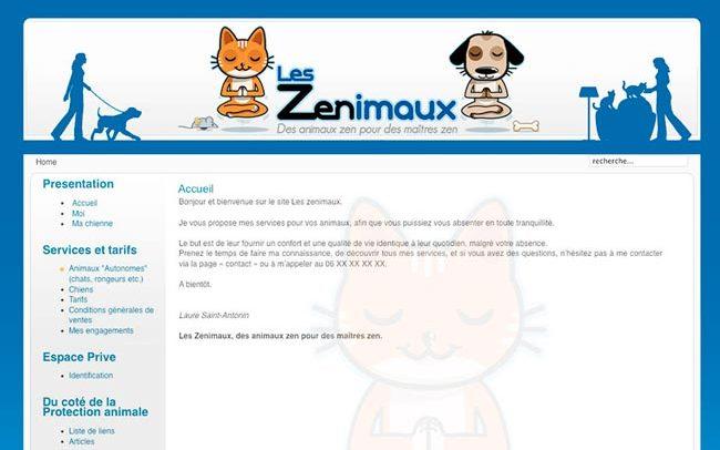portfolio du site les senimaux avec logo chien et chat