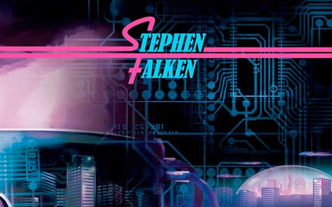 portfolio graphisme futuriste science fiction et logo du vinyl de stephen falken