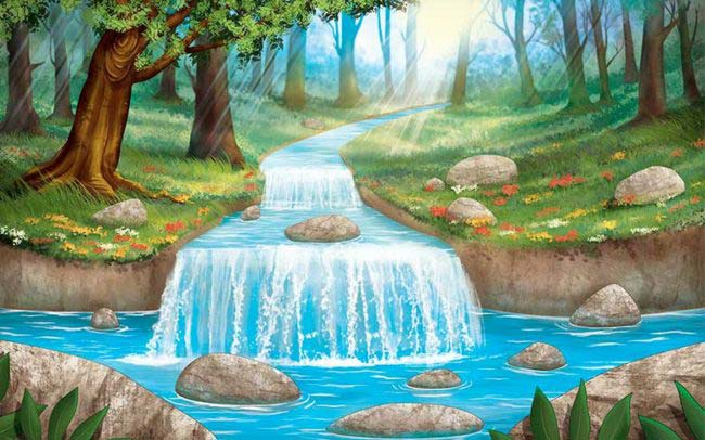 Portfolio d'une illustration fait avec photoshop : nature avec foret et rivière, décor pour les pokemon