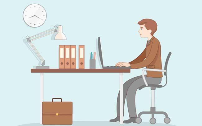 Portfolio dessin vectoriel d'un homme indépendant au bureau à son travail